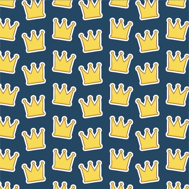 Wzór korony na niebiesko