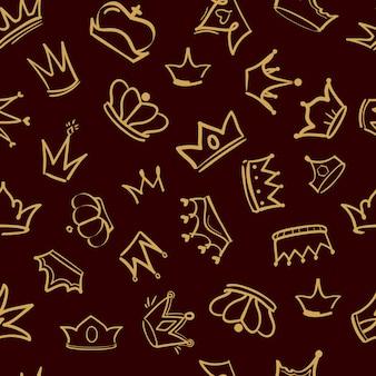 Wzór korony. tekstylny projekt złotego diademu królewiątka koronuje luksusową luksusową rękę rysującą bezszwowego tło
