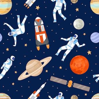 Wzór kosmosu. nadruk z tańczącym astronautą, statkami kosmicznymi, satelitą, gwiazdami i planetami. kosmiczna przygoda płaska tekstura wektor. ilustracja galaktyka i kosmos, tapeta kosmiczna