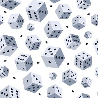 Wzór kostki. bezszwowe tło z obrazem kości. ilustracje do klubu gier lub kasyna.