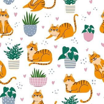 Wzór kota. czerwone koty i rośliny w doniczkach powtarzające się tapety w skandynawskim stylu. kreskówka śmieszne kocięta wydruku, tło wektor. ilustracja skandynawskie tło zwierzę w paski