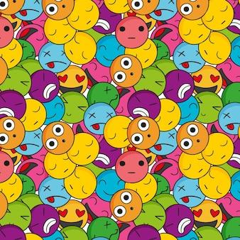 Wzór kreatywnych kolorowych emotikonów
