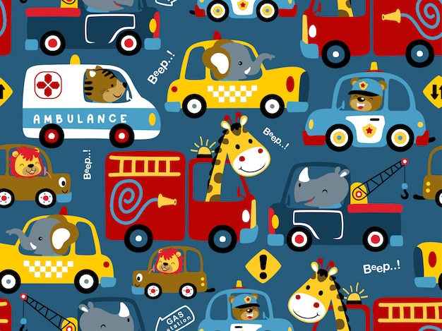 Wzór kreskówka pojazdów z zabawnymi kierowcami