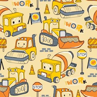 Wzór kreskówki pojazdów budowlanych