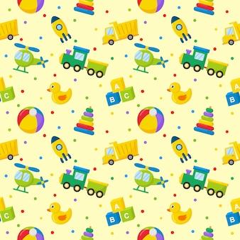 Wzór kreskówki zabawki transportowe. samochody, helikopter, rakieta, balon i samolot. styl kawaii na żółtym tle.