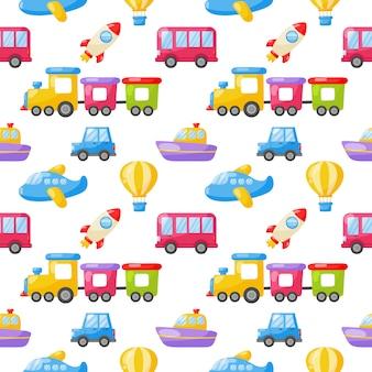 Wzór kreskówki zabawki transportowe. samochody, łódź, helikopter, rakieta, balon i samolot. kawaii styl na białym tle.