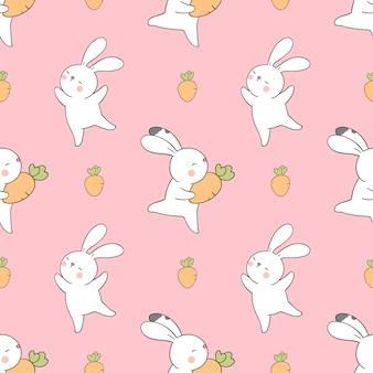 Wzór królik z małą marchewką na sezon wiosenny.
