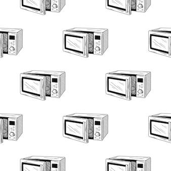 Wzór. kuchenka mikrofalowa na białym tle. w stylu szkicu