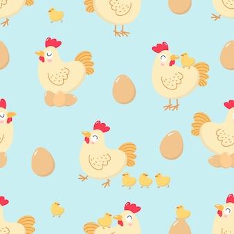 Wzór kura i pisklęcy