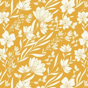 Wzór kwiatów i liści gorczycy
