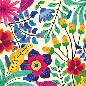 Wzór kwiatów i liści
