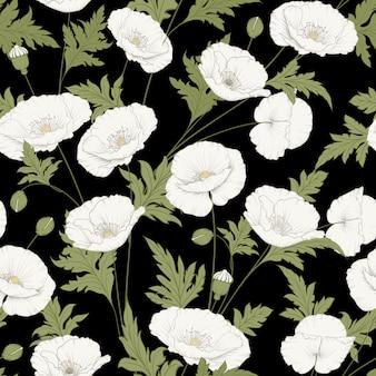 Wzór kwiatów maku.