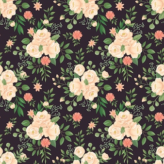 Wzór kwiatów róży. róże drukuj, pąki kwiatowe i kwiatowy bezszwowe ciemne tło ilustracji