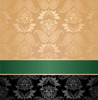 Wzór, kwiatowy dekoracyjne tło, zielona wstążka