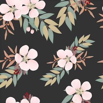 Wzór kwiatowy i liść