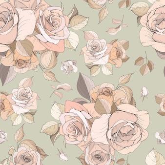 Wzór kwiatowy i liści