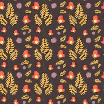 Wzór kwiatowy lato bezszwowe, brązowe tło. może być używany jako