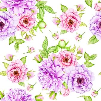 Wzór kwiatowy liści akwarela