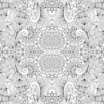 Wzór kwiatowy ozdobny doodle liniowy
