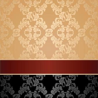Wzór, kwiatowy ozdobny tło, bordowa wstążka