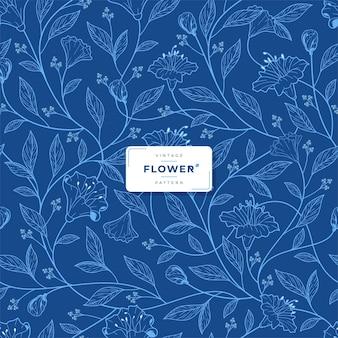 Wzór kwiatowy w stylu vintage z niebieskim tuszem
