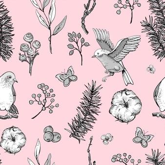 Wzór kwiatowy wiosna wzór z ptaków, gałęzi jodły, bawełny, kwiatów i motyli