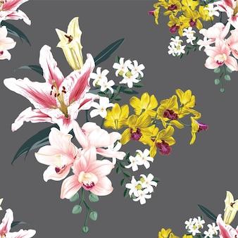 Wzór kwiatowy z różowymi kwiatami orchidei i lilii.