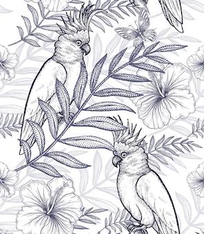 Wzór kwiaty i papugi.