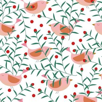 Wzór kwiaty i ptaki