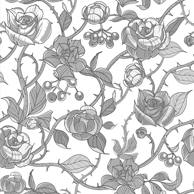 Wzór kwiaty róże i gałęzie ilustracji wektorowych