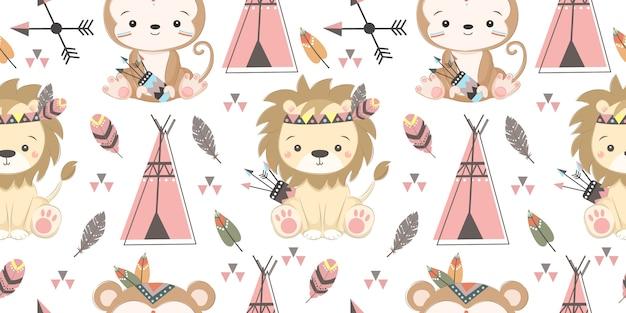 Wzór ładny boho zwierząt