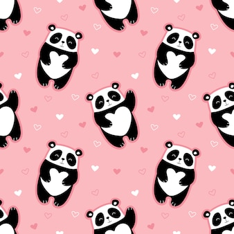 Wzór ładny pandy, serca, walentynki.