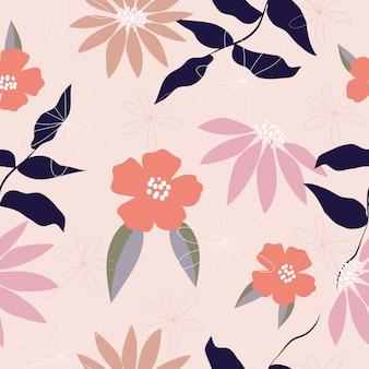 Wzór ładny pastelowe kwiaty