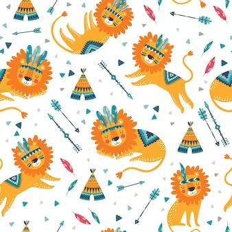 Wzór ładny plemiennych lwów. śliczna dziecinna powtarzająca się tekstura. kreskówka lwy. szablon do tkanin dla dzieci.