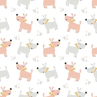 Wzór ładny psów. śliczna para kochających psów. nowoczesny bezszwowy nadruk dla dzieci do nadruku na pieluchach, pościeli, piżamach. tło dla papieru cyfrowego, scrapbookingu. ilustracja wektorowa, doodle