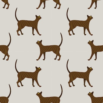 Wzór ładny rudy kot na beżowym tle. ilustracja.