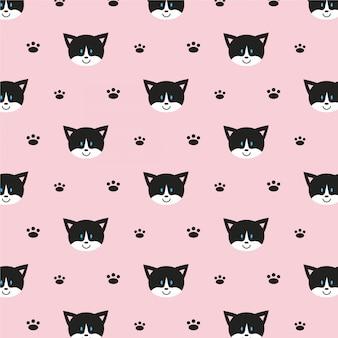 Wzór ładny szczęśliwy kot