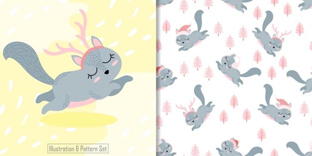 Wzór ładny wiewiórka zima boże narodzenie