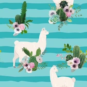Wzór lamy i kaktusa