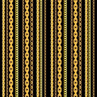 Wzór łańcucha bez szwu. złote łańcuszki, niekończąca się złota biżuteria naszyjniki i łańcuszki na czarnym tle