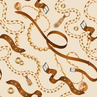 Wzór łańcuchów i warkoczy. bezszwowe tapety ozdobne