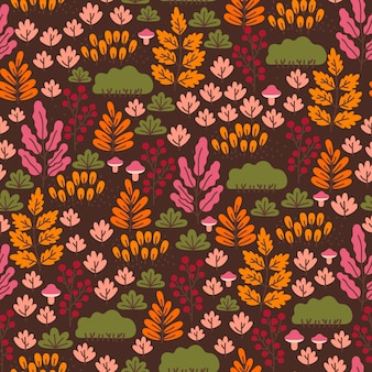 Wzór lasu z grzybami, jagodami i jesiennymi liśćmi na ciemnym tle. tapeta jesień.
