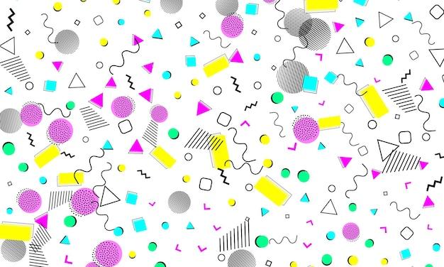 Wzór lat 90. trend memphis. wzór lat dziewięćdziesiątych. pop-art kolor tła. ilustracja wektorowa. hipsterski styl lat 80.-90. streszczenie kolorowe tło funky.