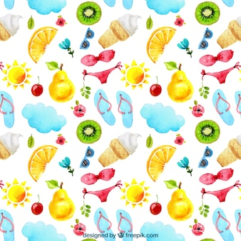Wzór lato z bikini i owoców