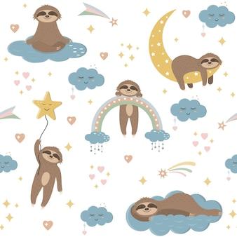 Wzór leniwców na niebie wśród chmur, gwiazd i tęczy, tekstylna tapeta dla dzieci