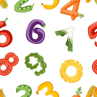 Wzór liczb w warzywa i owoce stylu jedzenie kreskówka projekt płaski wektor ilustracja na białym tle.