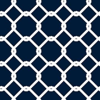 Wzór liny morskie. niekończąca się ilustracja marynarki wojennej z białym ornamentem sieci rybackiej