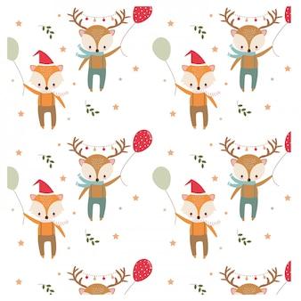 Wzór lisa i jelenia w tematyce bożonarodzeniowej
