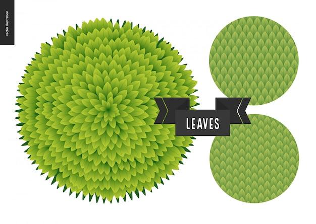 Wzór liści. catroon bezszwowe wektor zielony liść ręcznie rysowane wzory i zielony okrągły krzak