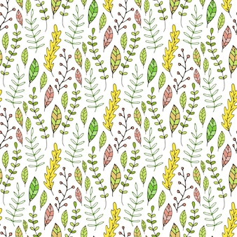 Wzór liści i gałęzi. ręcznie rysowane tło natura